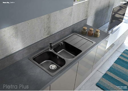 Lavelli Cucina In Granito.Lavello Apell Pietra Plus Ptsh862go Cm 86 X 50 2 Vasche Granito