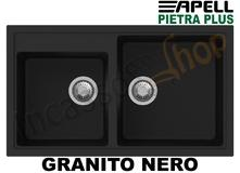 Lavello Incasso Pietra Plus 2 Vasche cm.86X50 Fragranite Nero