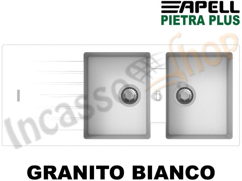 Lavello Cucina Fragranite Bianco.Lavello Incasso Pietra Plus 2 Vasche Cm 116x50 Fragranite Bianco