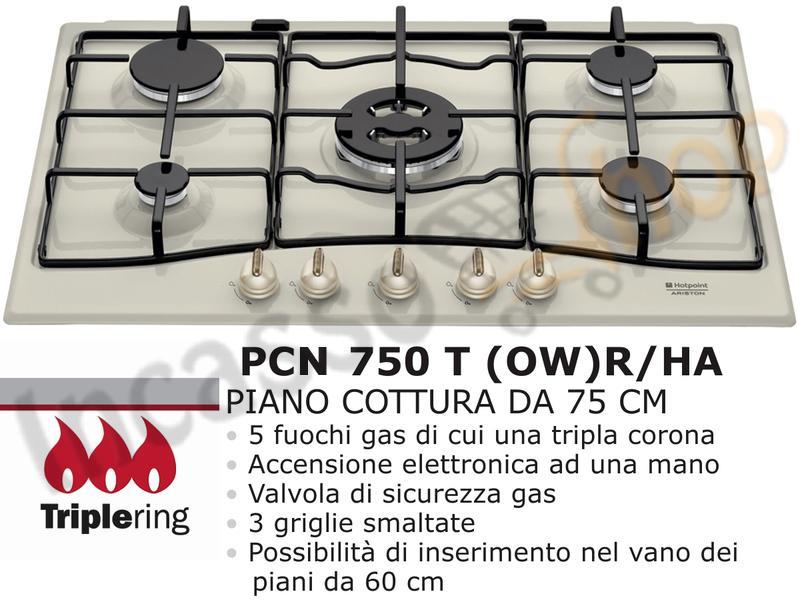Piano Cottura 5 Fuochi (di cui 1 Tripla Corona) cm.75 Bianco Antico ...