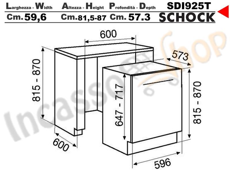 Lavastoviglie Schock SDI925T cm.60 12 coperti 9 programmi Classe A++ ...