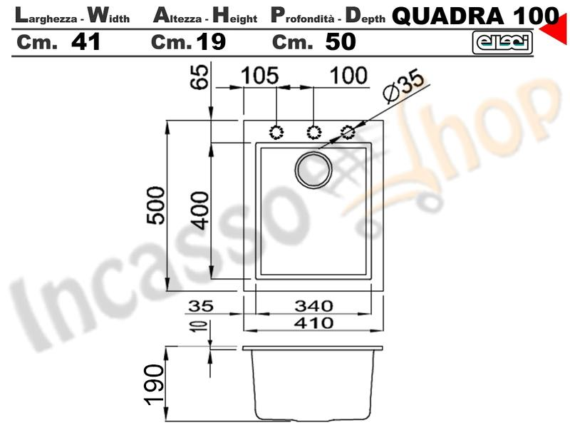 Cappa Cucina Moderna 80 TD314BC Quadra Inox-Vetro Nero | Incasso ...