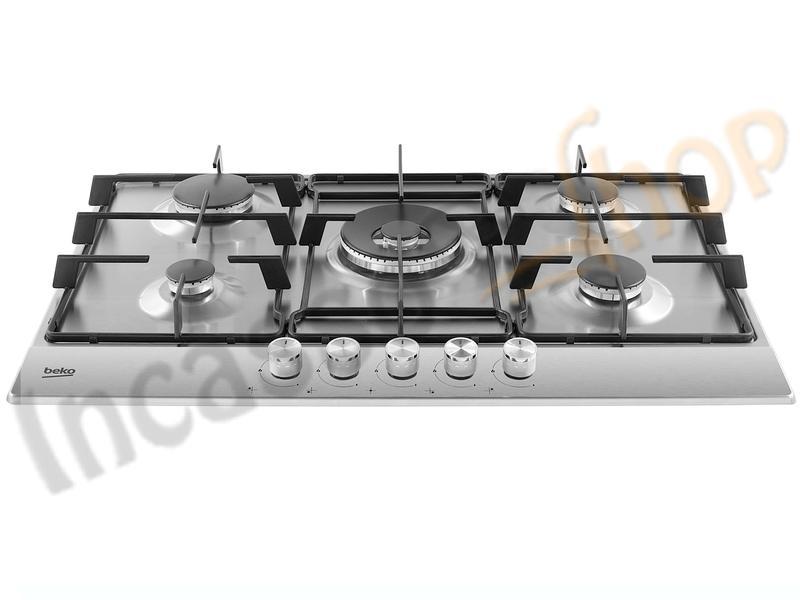 Piano Cottura Beko 75 HIAW75224SX 4 Fuochi+ 1 Tripla Corona Inox ...
