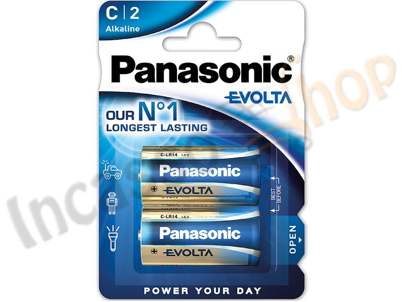 2 Batterie LR14EGE/2BP Mezza torcia C 1,5 V Alcaline Power Panasonic
