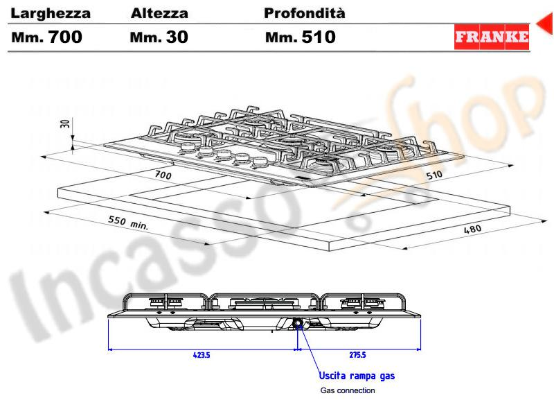 Piano cottura 70 franke multi cooking mr fhmr 705 4g tc xs - Valvola sicurezza piano cottura ...