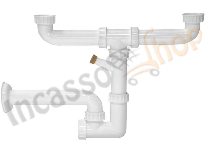 Sifone 2 via ispezionabile l b plast 255 als con attacco lavastoviglie e uscita a muro per - Perdita sifone lavabo cucina ...