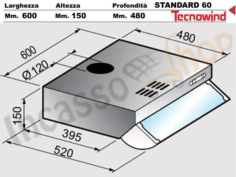 Cappa tecnowind standard ks6b05a410c04tw bianca - Cappa incasso 60 ...