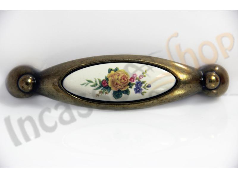 Maniglia pomolo 711 interasse 096 zama ceramica porcellana bouquet fiore giallo - Maniglie porcellana cucina ...