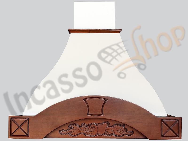 Cappa Cucina Rustica Dora 60 Cornice Legno Grezzo Scolpito   Incasso ...