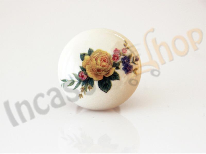 Pomolo Pomello 669-11 Fiore giallo porcellana ceramica rotondo ba ...