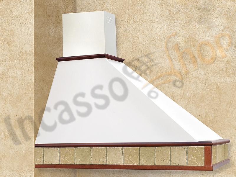 Cappa Cucina Rustica Trapezio 90 Cornice Legno Grezzo Punta DX ...