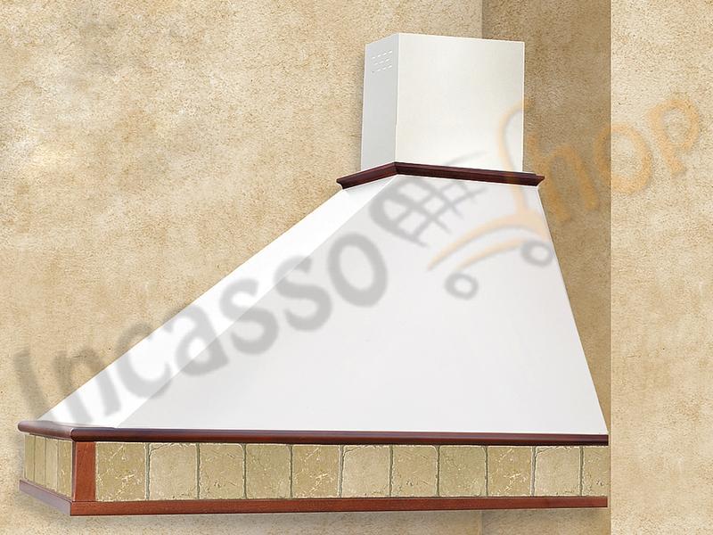 Cappa Cucina Rustica Trapezio 90 Cornice Legno Grezzo Punta SX ...