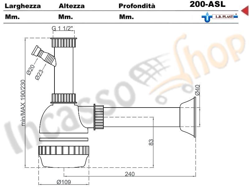 sifone 1 via a fiasca l.b.plast 200-als con attacco lavastoviglie e
