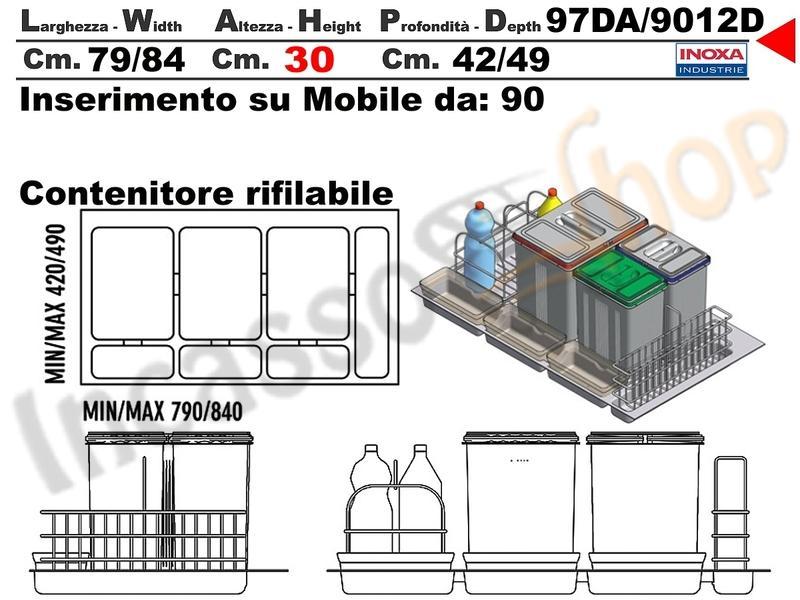 Contenitore pattumiera Inoxa art 97DA//9012D  raccolta differenziata x base 90
