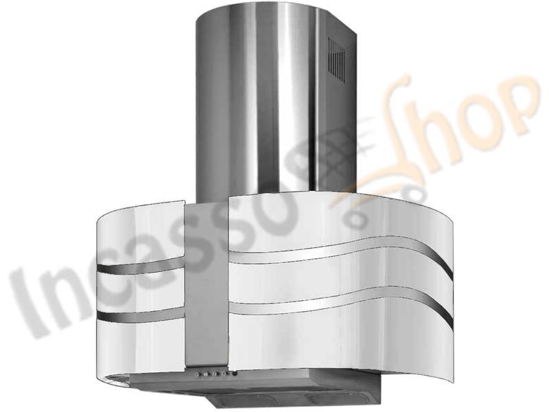 Cappa Cucina Moderna 76 TD0013 Double Swayed Inox-Vetro Bianco