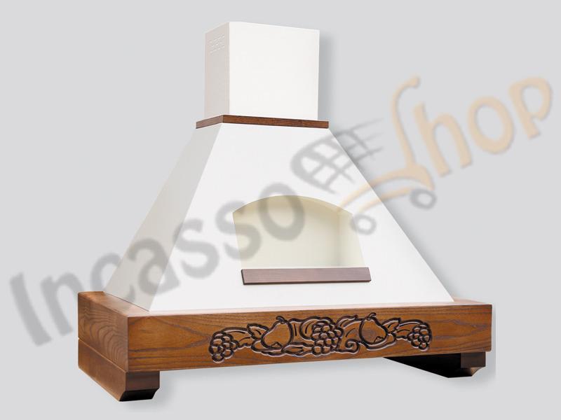 Cappa cucina rustica nicchia gaia 90 cornice legno verniciato