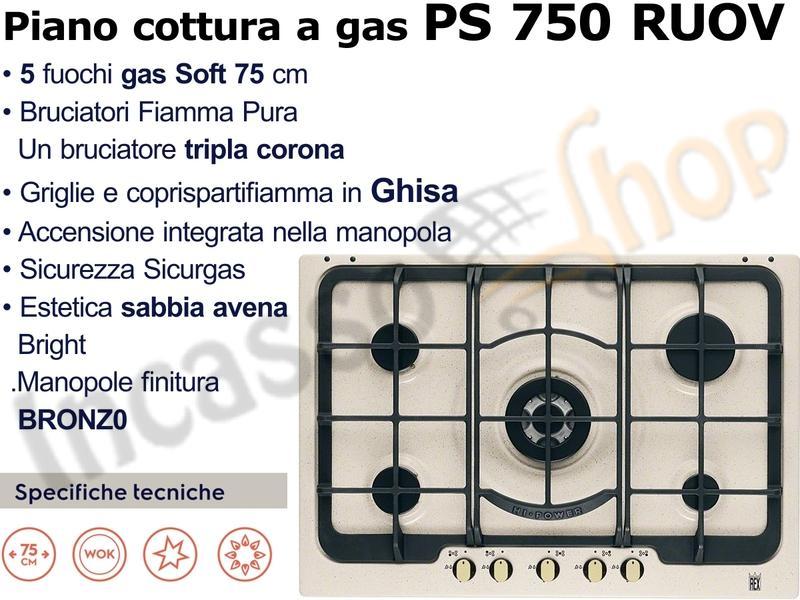 Piano Cottura Electrolux Rex Rustico cm.75 PS 750 RUOV 4 Fuochi+1 ...