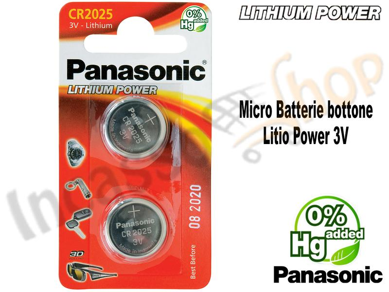 2 Micro Batterie CR-2025EL Bottone 3 V Litio Pawer Panasonic