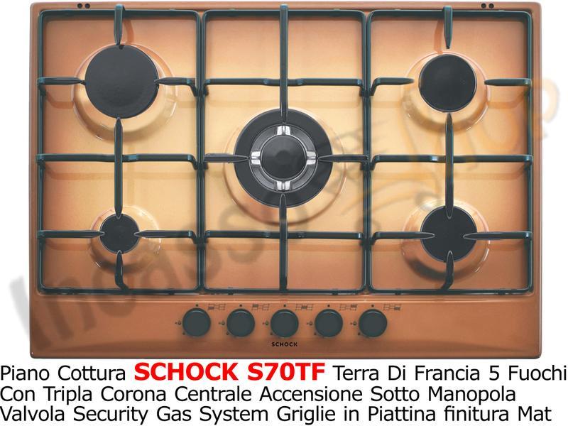 Piano Cottura Schock Cm.70 S70TF 5 Fuochi Griglie Smaltate Terra di ...