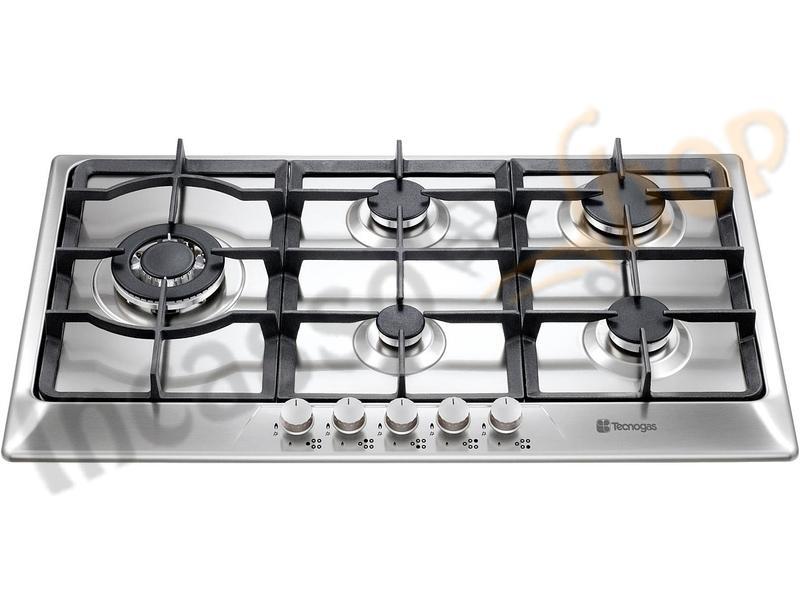 Piano Cottura cm.90 4 Fuochi + 1 Tripla Corona Moderno Acciaio Inox ...