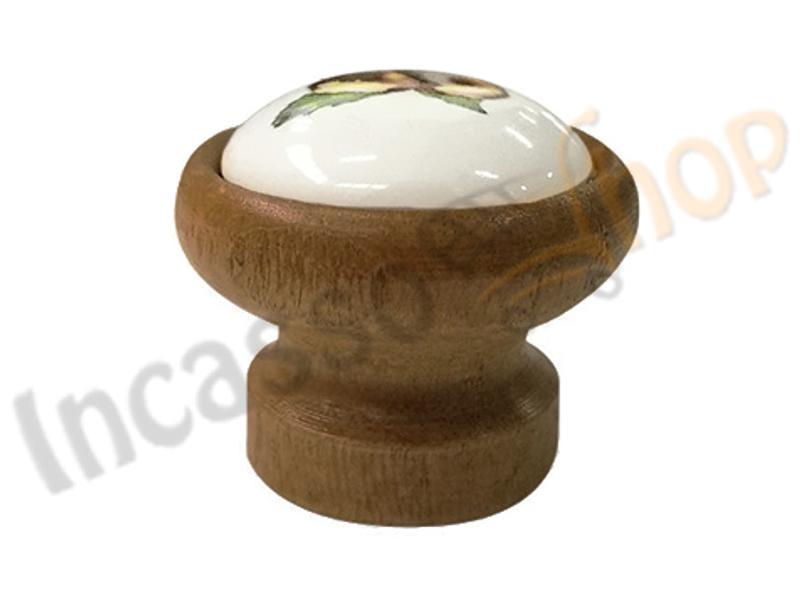 Pomolo pomello castagna p09 legno scuro rotondo inserto porcellana ceramica incasso shop - Maniglie porcellana cucina ...