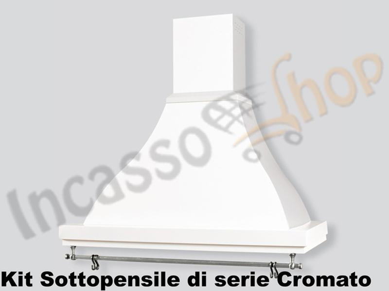 Cappa Cucina Rustica Sirio 90 struttura bianca Sottopensile Cromato ...