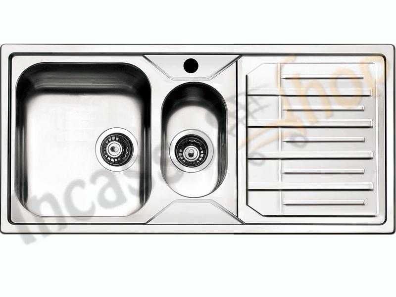 Lavello Cucina Melodia 1 Vasca e ½ cm.100X50 Acciaio Inox ...