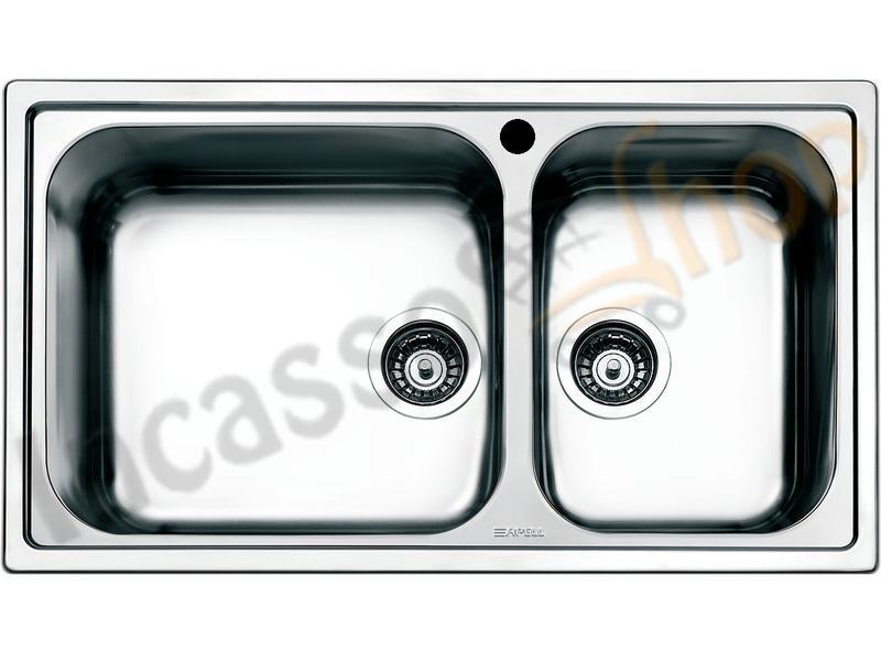 Lavello Cucina Linear 2 Vasche Maxi cm. 86X50 2V Acciaio ...