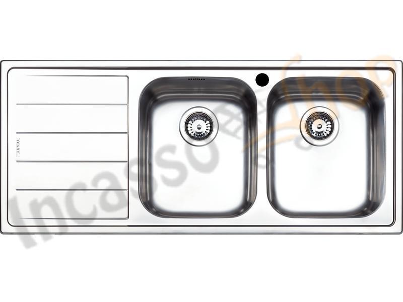 Lavello Cucina Linear 2 Vasche cm.116X50 Acciaio Inox Spazzolato ...